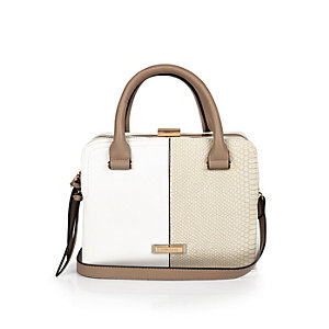 White boxy structured tote handbag