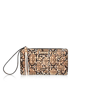 Brown snake print laser cut purse