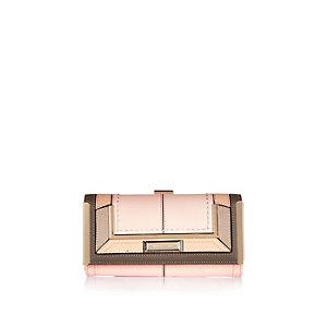 Pink patchwork clip top purse