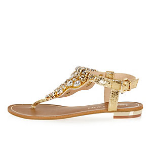 Gold metallic embellished sandals