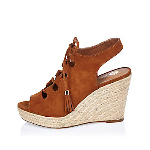 Brown lace-up wedges