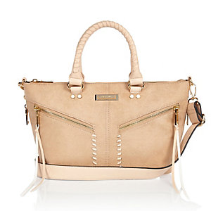 Beige large whipstitch tote handbag