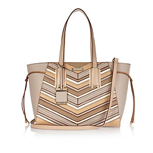 Beige striped winged tote handbag
