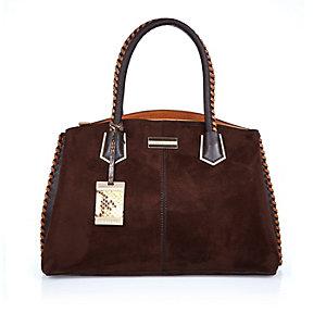 Dark brown whipstitch tote handbag