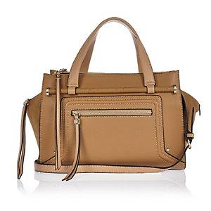 Beige bowler handbag