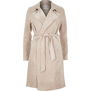 Light beige faux suede trench coat