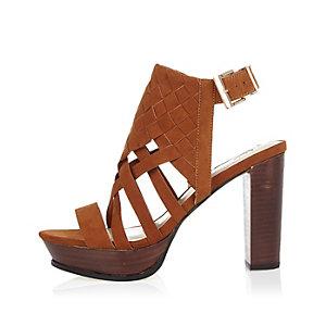 Brown suede woven platform heels