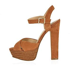 Brown suede espadrille platform heels