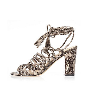 Grey snake print lace-up block heel sandals