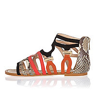 Black and snakeskin print flat sandals