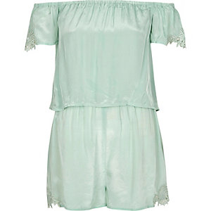 Green bardot playsuit