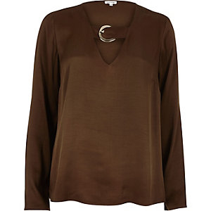 Brown flared sleeve satin top
