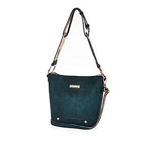 Dark green monogram strap handbag
