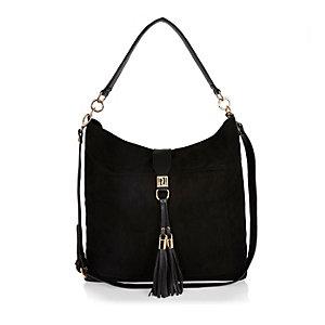 Black tassel oversized slouchy handbag