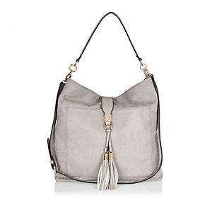 Grey tassel oversized slouchy handbag