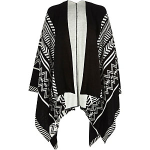 Black geometric pattern throw on cape