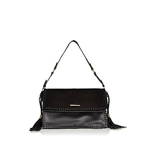 Black whipstitch underarm handbag