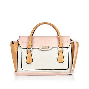 Grey structured winged tote handbag