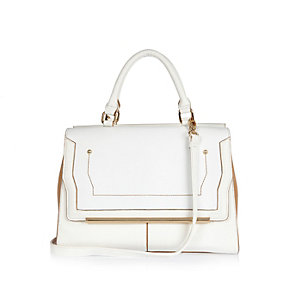White double sided tote handbag