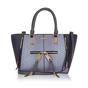 Blue mini zip winged tote handbag