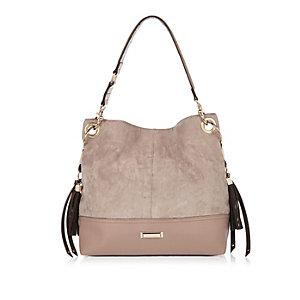 Mink faux suede slouchy tassel handbag