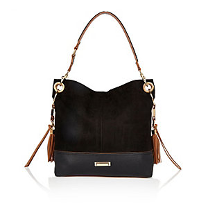 Black tassel side slouchy handbag