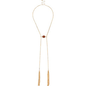 Gold tone chain tassel necklace