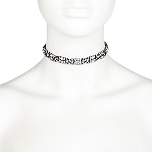Silver tone embellished choker necklace