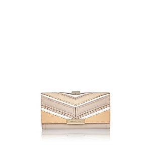 Beige patchwork clip top purse