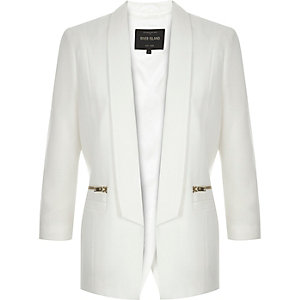 White open back smart blazer