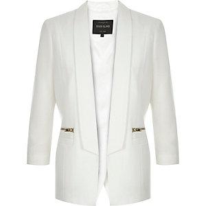 White open back smart blazer