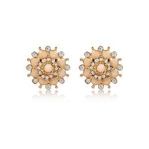 Pink gem flower stud earrings