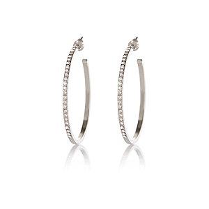Silver tone embellished hoop earrings