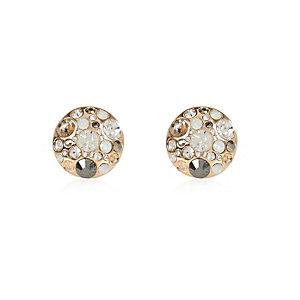 Gold tone gem cluster stud earrings