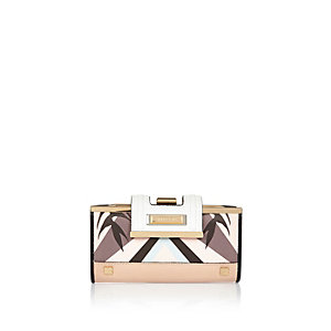 Pink leaf print clip top purse