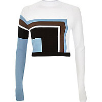 White knitted geometric cropped jumper