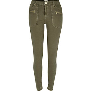 Khaki raw hem Molly jeggings