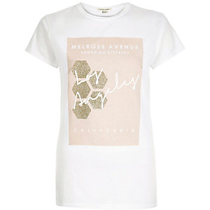 White glittery shopping print fitted t-shirt