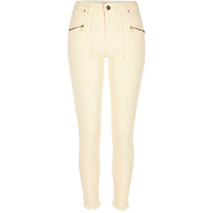 Cream raw hem Molly combat jeggings