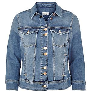 Blue shrunken denim jacket