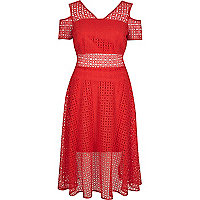 Red lace cold shoulder midi prom dress