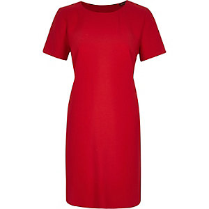 Red short sleeve double layer swing dress