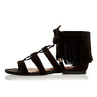 Black fringed lace-up sandals