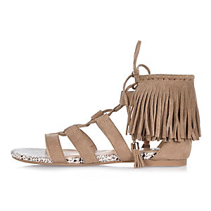 Brown fringed lace-up sandals