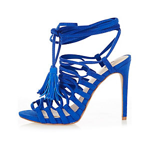 Blue strappy tassel sandals