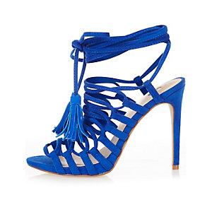 Blue strappy tassel sandals
