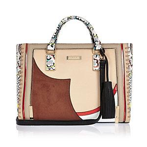Brown patchwork whipstitch tote handbag