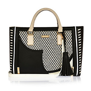 Black large whipstitch tote handbag