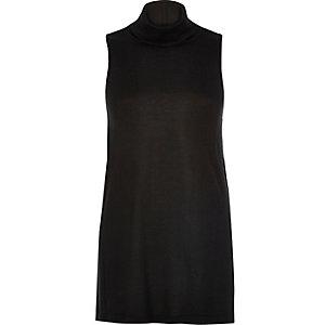 Black sleeveless open back top
