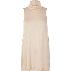 Light pink sleeveless open back top